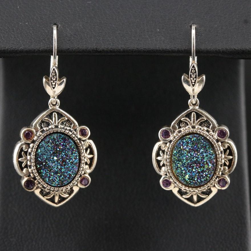 Sterling Druzy and Amethyst Dangle Earrings