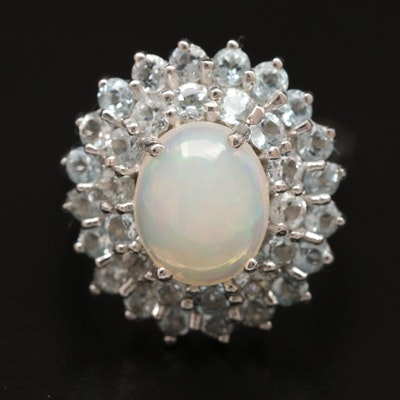 Sterling Silver Opal Ring with Aquamarine Double Halo