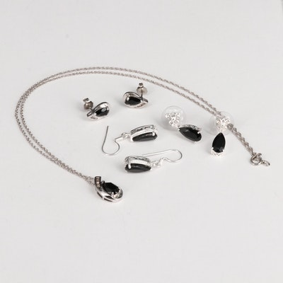 Sterling Silver Earrings and Necklace Featuring Spinel, Diamonds, and Black Onyx