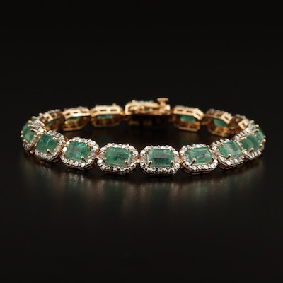 Sterling Emerald and Diamond Bracelet