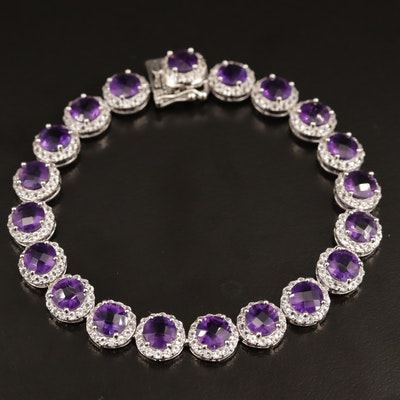 Sterling Amethyst and Topaz Bracelet