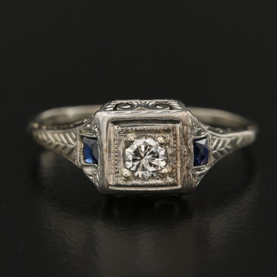 1930s 18K Diamond and Sapphire Ring