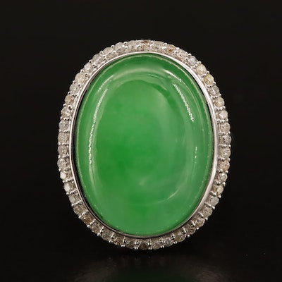 Sterling Oval Jadeite and Diamond Ring