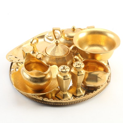 Pickard and Other Gilded Porcelain Tableware with Revolving Mirrored Tray
