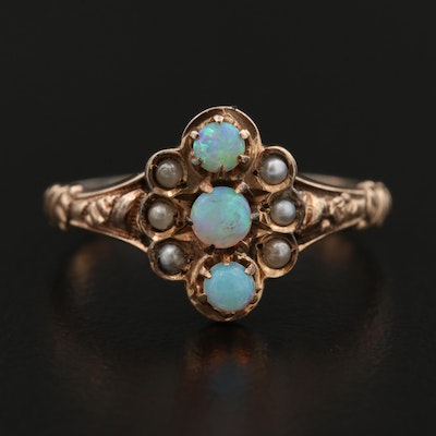 Victorian 10K Rose Gold Opal, Seed Pearl and Imitation Pearl Ring