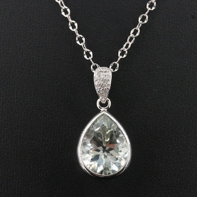 Sterling Prasiolite and Diamond Pendant Necklace