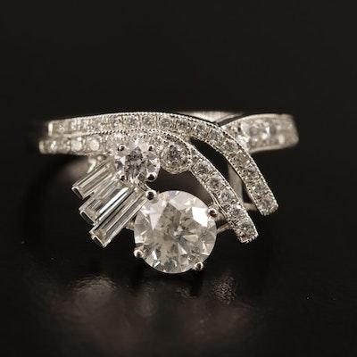 Platinum 1.89 CTW Diamond Milgrain Ring