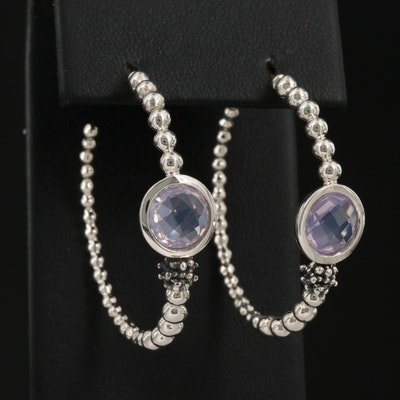Michael Dawkins Sterling Silver Amethyst Hoop Earrings with 14K Accents