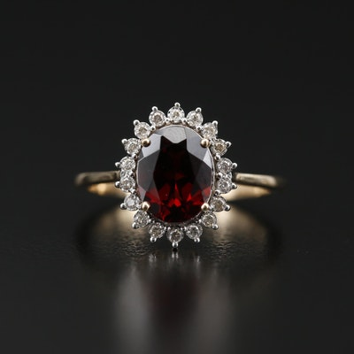 14K Garnet Ring with Diamond Halo