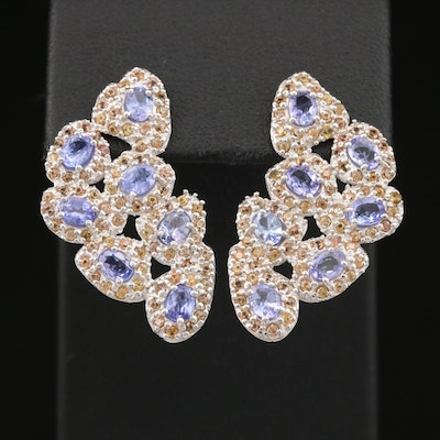 Sterling Tanzanite and Sapphire Halo Cluster Drop Earrings