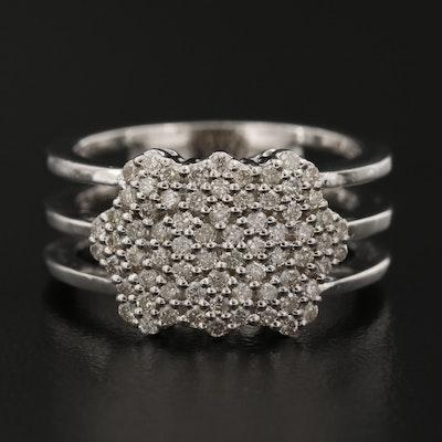 14K Diamond Hexagonal Band
