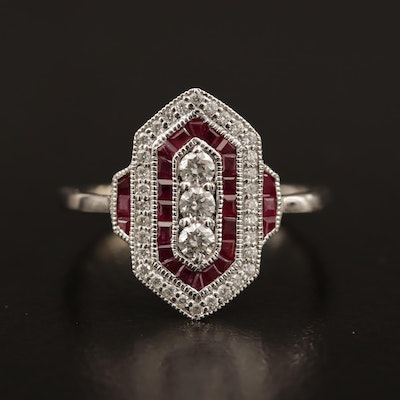 Art Deco Style 14K Diamond and Ruby Ring