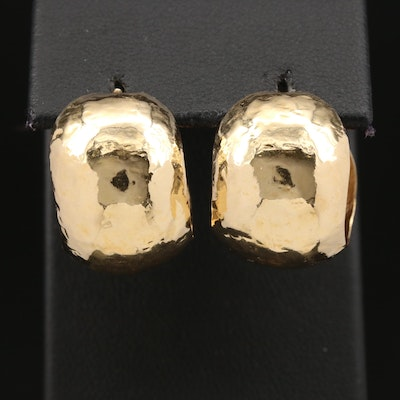 14K Hammered Texture Huggie Earrings