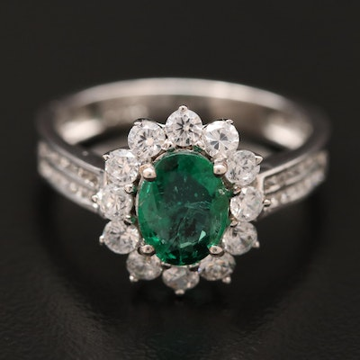Sterling Emerald and Cubic Zirconia Halo Ring