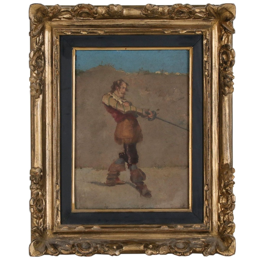 Portrait of Cavalier Oil Painting, Early 20th Century