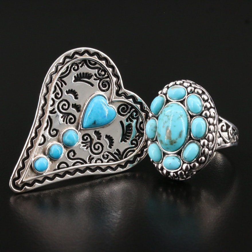 Sterling Turquoise Oval and Heart Motif Rings