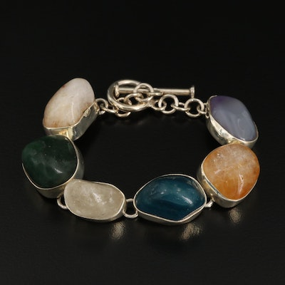 Sterling Silver Chalcedony, Citrine and Rock Crystal Quartz Bracelet