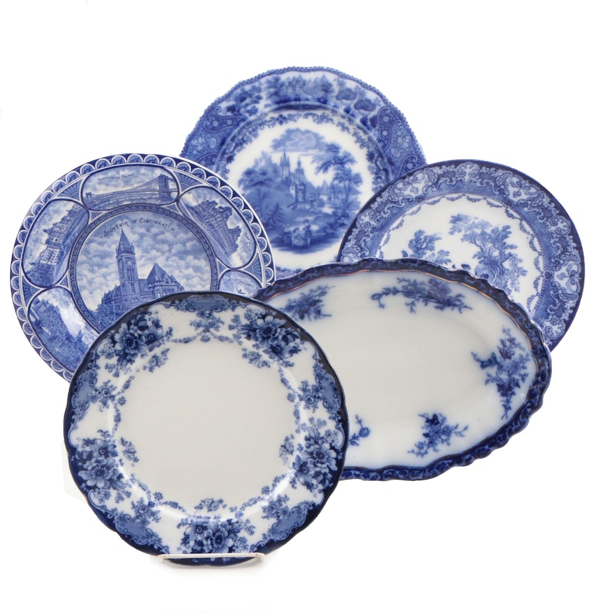 """Henry Alcock """"Touraine"""" Oval Platter and Other Flow Blue Plates"""