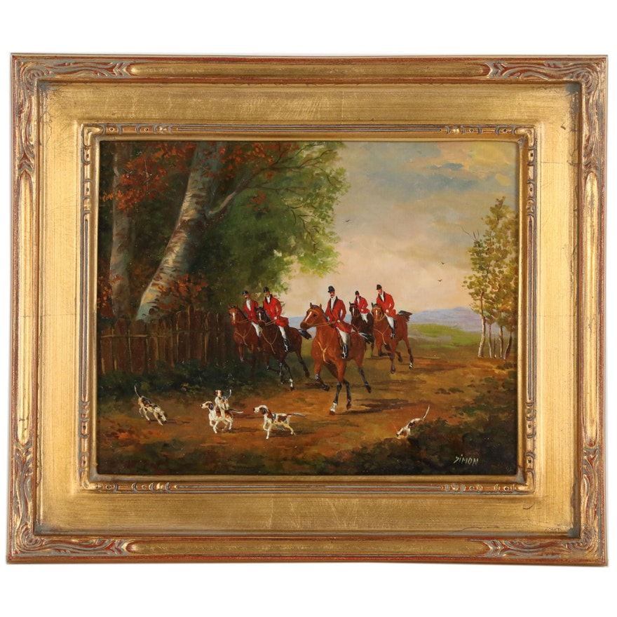 Simon Braun Oil Painting of English Hunt Scene