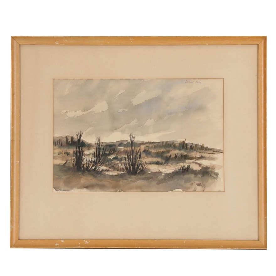Robert Fabe Landscape Watercolor Painting, Mid 20th Century