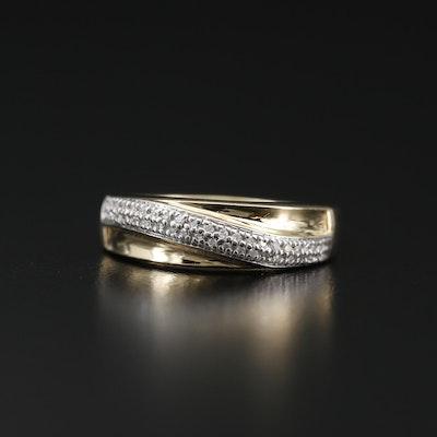 14K Diamond Band with Stripe Detail