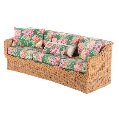 Ficks Reed Woven Rattan Sofa with Floral Cushions