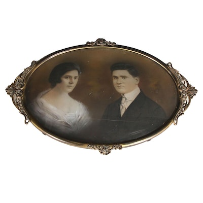 Crayon Portrait Photograph of Couple, Late 19th Century