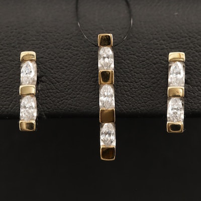 Sterling Cubic Zirconia Earrings and Pendant Set