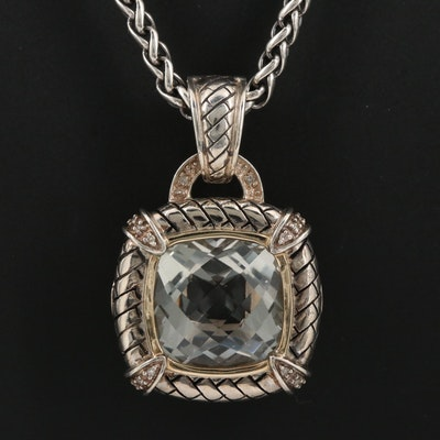 Sterling Silver Prasiolite and Diamond Enhancer Pendant Necklace with 14K Accent
