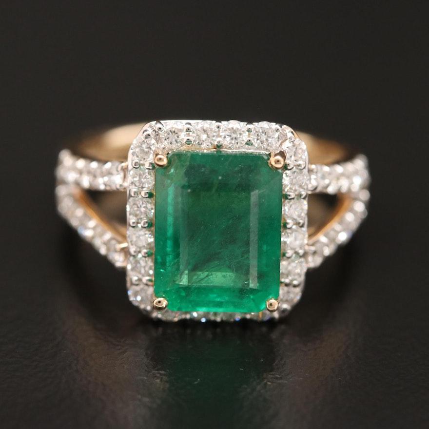 14K 3.70 CT Emerald and Diamond Ring