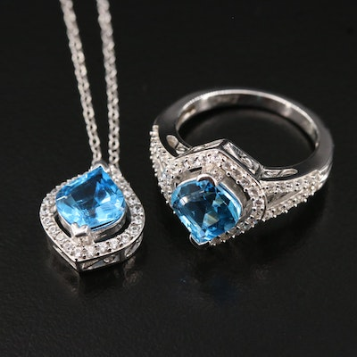 Matching Sterling Silver Topaz Ring and Pendant Necklace Set
