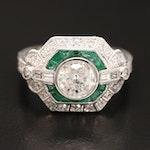 Platinum 1.48 CTW Diamond and Emerald Ring
