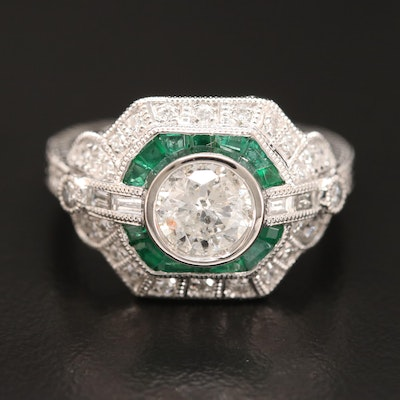 Platinum 1.48 CTW Diamond and Emerald Ring