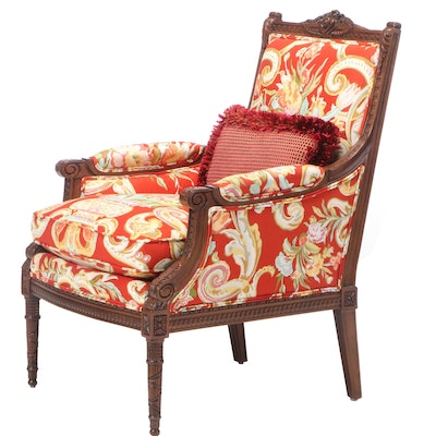 Louis XVI Style Floral-Upholstered Beech Bergère