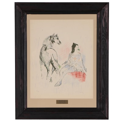 Marcel Vertes Lithograph of Woman and Horse