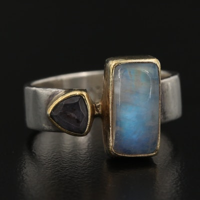 Sterling Silver Rainbow Moonstone and Tanzanite Ring