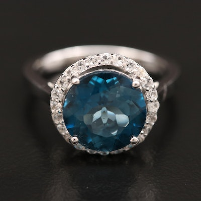 Sterling Silver Blue Topaz Ring with White Topaz Halo