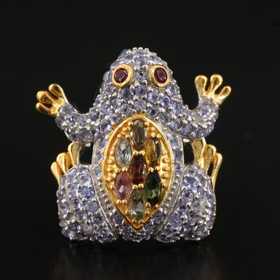 Sterling Silver Tourmaline, Tanzanite and Garnet Frog Ring