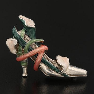Kenneth Jay Lane Sterling High Heel Floral Brooch