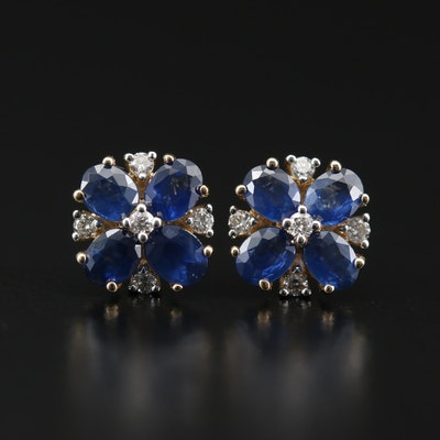 14K Sapphire and Diamond Floral Stud Earrings