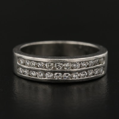 Platinum Double Channel Row Diamond Band