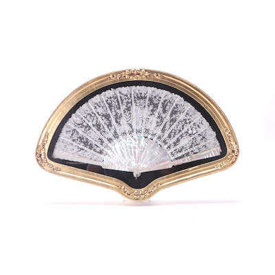 Framed Mother of Pearl and Lace Hand Fan, Early 20th Century