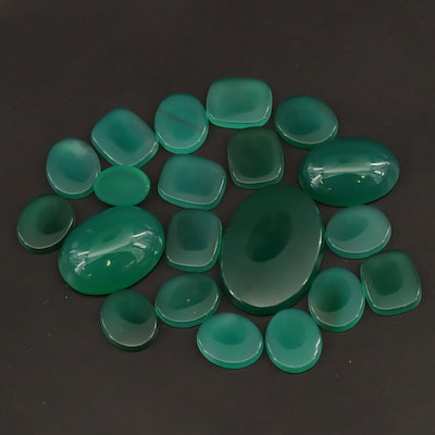 Loose 79.00 CTW Chalcedony Table and Cabochon Assortment