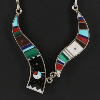 Harold Smith Navajo Diné Sterling Inlay Necklace