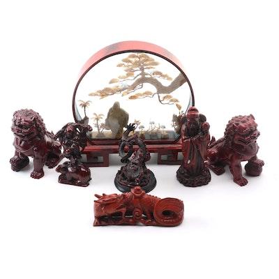 Buddha Aquatic Diorama With Resin Palace Lion, Dragon, and Human Figurines