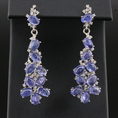 Sterling Silver Cubic Zirconia and Tanzanite Dangle Earrings