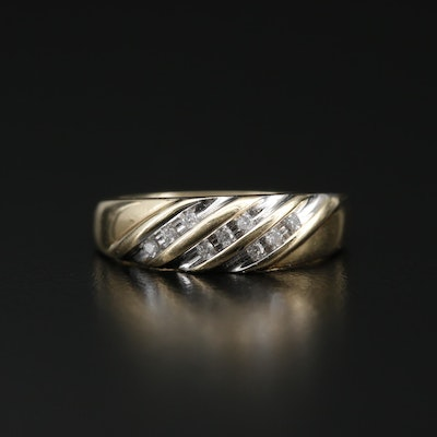 14K Diamond Striped Band