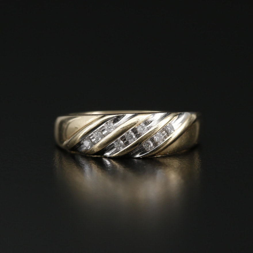 14K Diamond Striped Band
