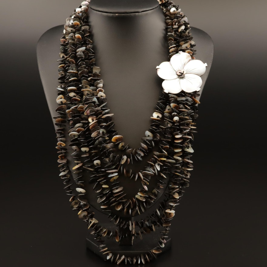 Mother of Pearl Beaded Multi Strand Necklace with Flower Accent