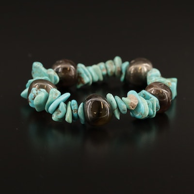 Turquoise and Agate Expandable Bracelet